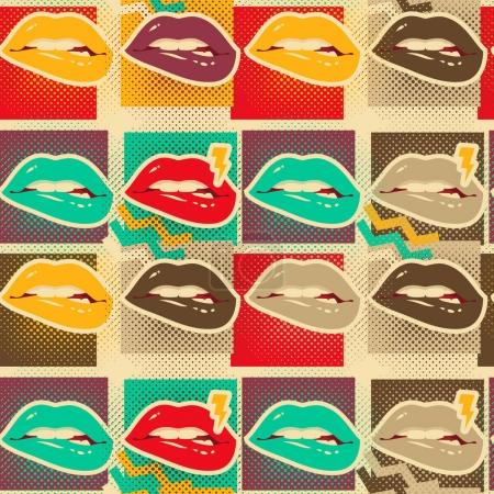 Pop art lips copies seamless pattern