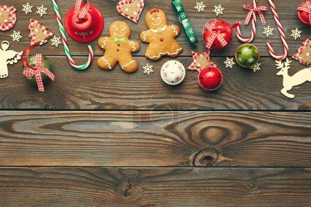 Border of christmas decorations