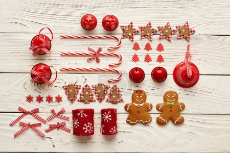Photo for Christmas homemade decorations and gingerbread cookies on wooden background - Royalty Free Image