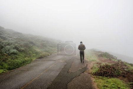 Lone man walking