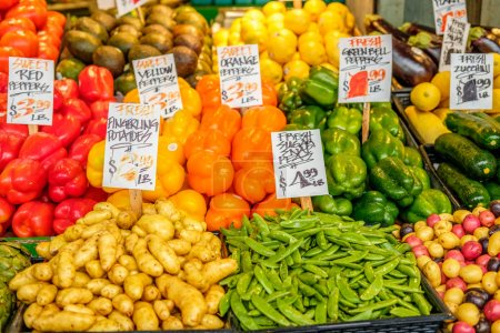 fruits and vegetables at marketplace