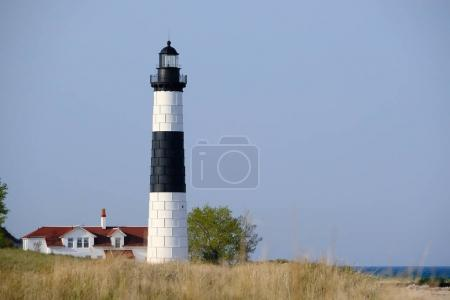 Photo for Big Sable Point Lighthouse in dunes, Lake Michigan, MI, USA - Royalty Free Image