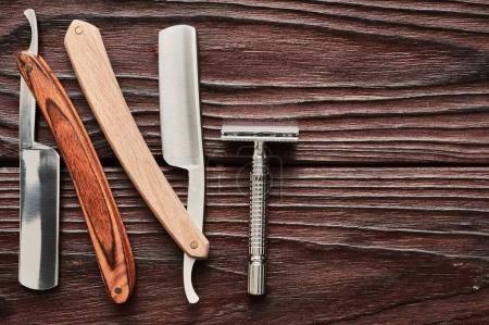 Vintage barber shop razor tools
