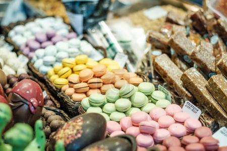 Macaroons on market stall