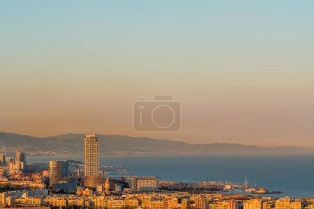 Barcelona coast overlook at sunset