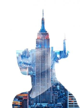 Photo for Double exposure portrait of woman and New York City skyline isolated on white background - Royalty Free Image