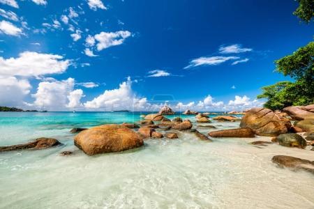 beach Anse Lazio at sunny day