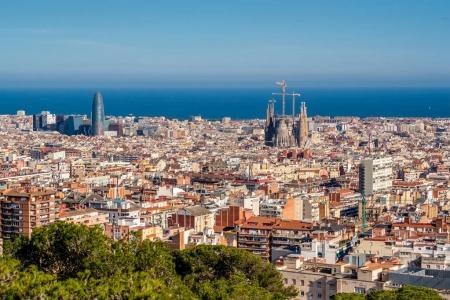 Barcelona cityscape at sunny day