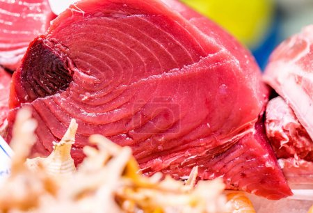 Fresh tuna fish on market display