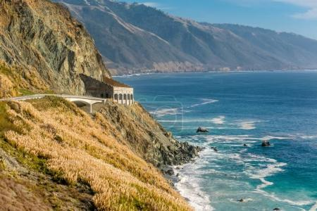 Highway on pacific coast at sunny day,