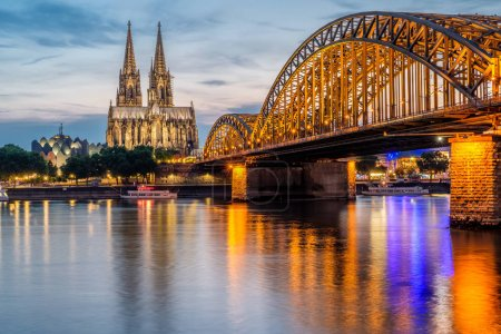 Cathedral and Bridge at night