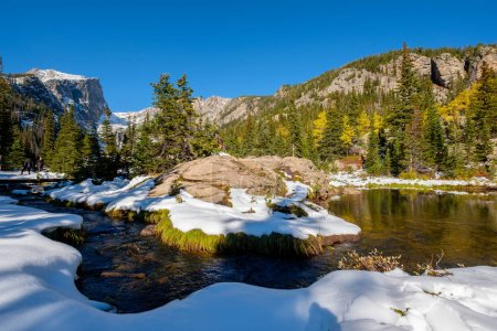 Photo for View on Hallett Peak and Flattop Mountain in snow at autumn. Trail to Emerald Lake. Rocky Mountain National Park in Colorado, USA. - Royalty Free Image