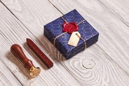 Christmas present and wax seal stamp
