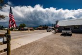 Small town and stormy clouds in Wyoming, USA