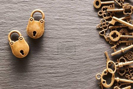 Various metal keys and locks