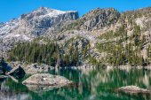 Lake Haiyaha with rocks and mountains, Rocky Mountain National Park in Colorado, USA