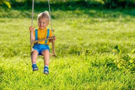 Photo for Portrait of toddler child swinging outdoors. Rural scene with baby boy at swing. Healthy preschool children summer activity. Kid playing outside. - Royalty Free Image