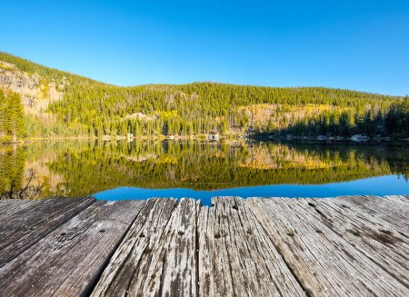 Photo for Bear Lake and reflection at autumn. Rocky Mountain National Park in Colorado, USA. - Royalty Free Image