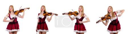 Photo pour Bavaroise fille jouant du violon isolé sur blanc - image libre de droit