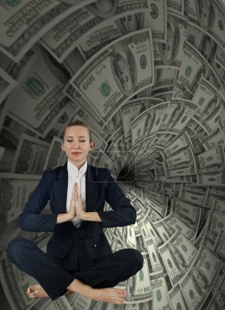 Photo for Woman in business concept with dollar whirlpool - Royalty Free Image