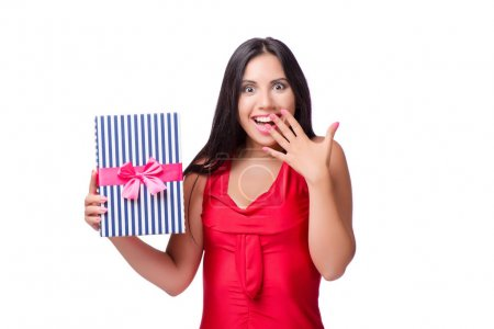 Woman with giftbox isolated on the white background