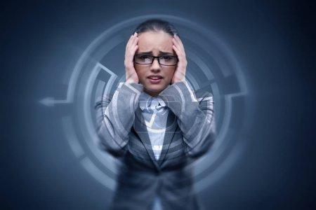 Sad businesswoman lost in maze