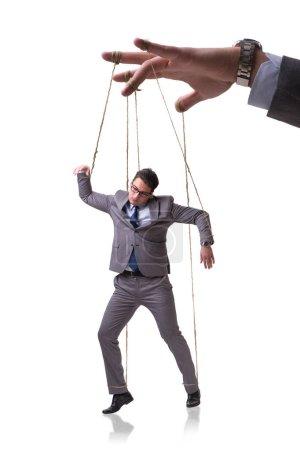 Photo pour Marionnette d'homme d'affaires isolée sur fond blanc - image libre de droit