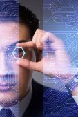 Futuristic vision concept with businessman