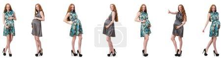 Photo pour Femme enceinte en composite image isolé sur blanc - image libre de droit