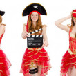 Woman pirate isolated on white...