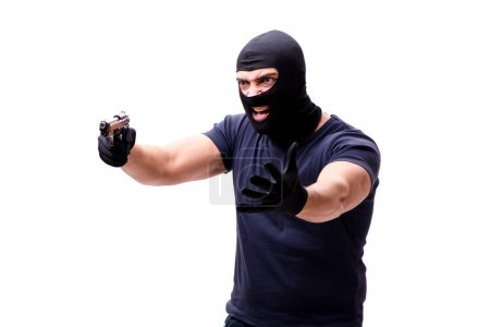Robber wearing balaclava isolated on white...