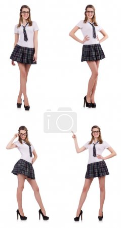 Young naughty student female isolated on white...