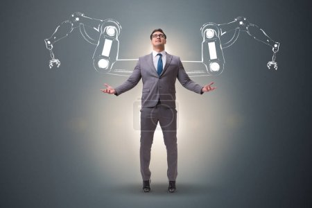 Photo for Businessman man with robotic arms - Royalty Free Image