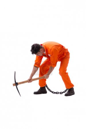 Prisoner with axe isolated on white background...