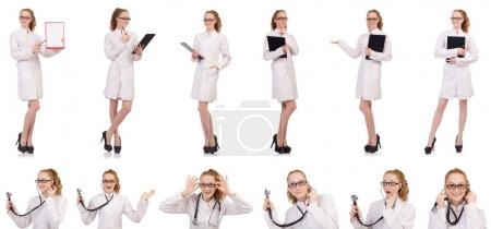 Photo for Pretty female doctor holding diary isolated on white - Royalty Free Image