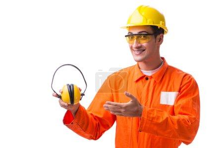 Photo pour Travailleur de la construction avec écouteurs antibruit - image libre de droit