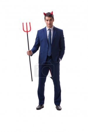 Evil devil businessman with pitchfork isolated on ...
