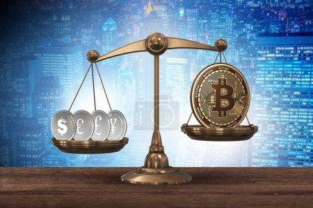 Photo pour Balance avec bitcoins et autres devises - rendu 3d - image libre de droit