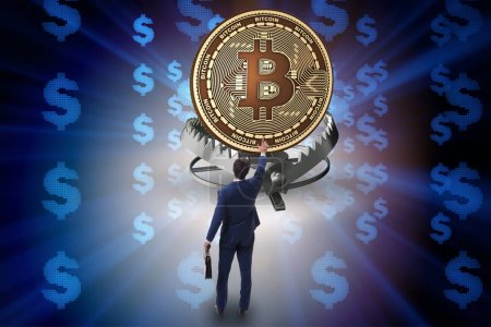 Photo for Businessman falling into the trap of bitcoin cryptocurrency - Royalty Free Image