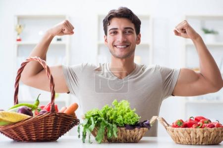 Photo for Young man in healthy eating and dieting concept - Royalty Free Image