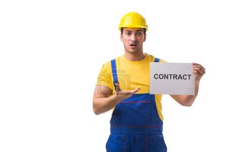Photo pour Travailleur mécontent de son contrat de travail - image libre de droit