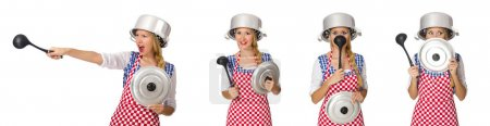 Photo for Woman cook isolated on the white background - Royalty Free Image