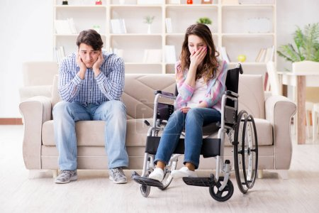 Photo for Desperate disabled person on wheelchair - Royalty Free Image