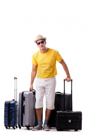 Photo for Happy young man going on summer vacation isolated on white - Royalty Free Image