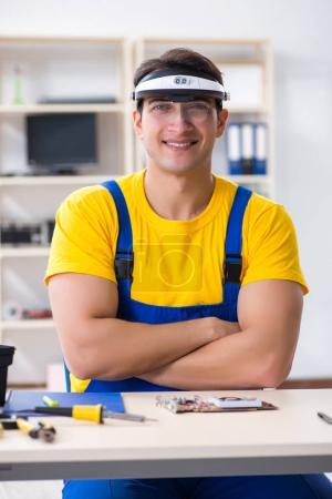 Photo for Computer repair technician repairing hardware - Royalty Free Image