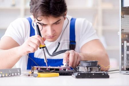 Photo for Computer hardware repair and fixing concept by experienced technician - Royalty Free Image