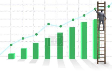Photo pour L'homme d'affaires progresse vers la croissance des statistiques - image libre de droit
