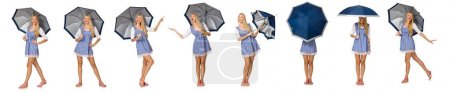 Photo for Woman with umbrella isolated on white - Royalty Free Image