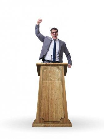 Photo pour Homme d'affaires faisant un discours dans le concept d'entreprise - image libre de droit