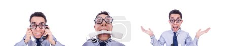 Photo for The crazy man with phone on white - Royalty Free Image